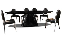 table blache rallonge design verre noir