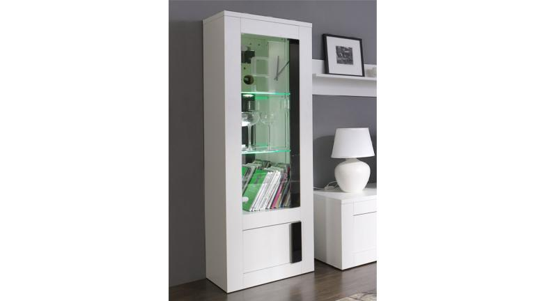 vitrina 1 puerta blanco lacado con luces arendy. Black Bedroom Furniture Sets. Home Design Ideas
