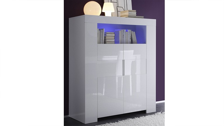 magao meuble de rangement 2 portes laqu blanc. Black Bedroom Furniture Sets. Home Design Ideas