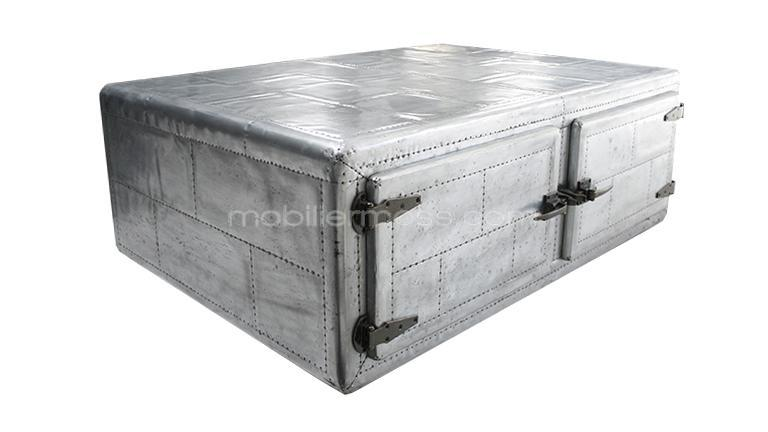 Table basse industrielle avec 4 portes zinc mobilier moss for Recouvrir une table de zinc